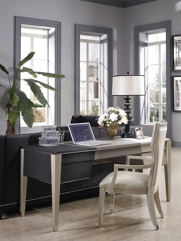 Стол письменный  жемчуг-черный-серый
