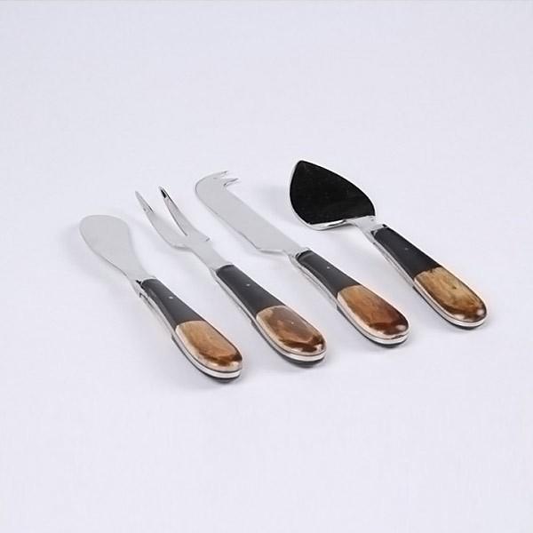 Набор из 4 ножей для сыра, ручка рог/черная