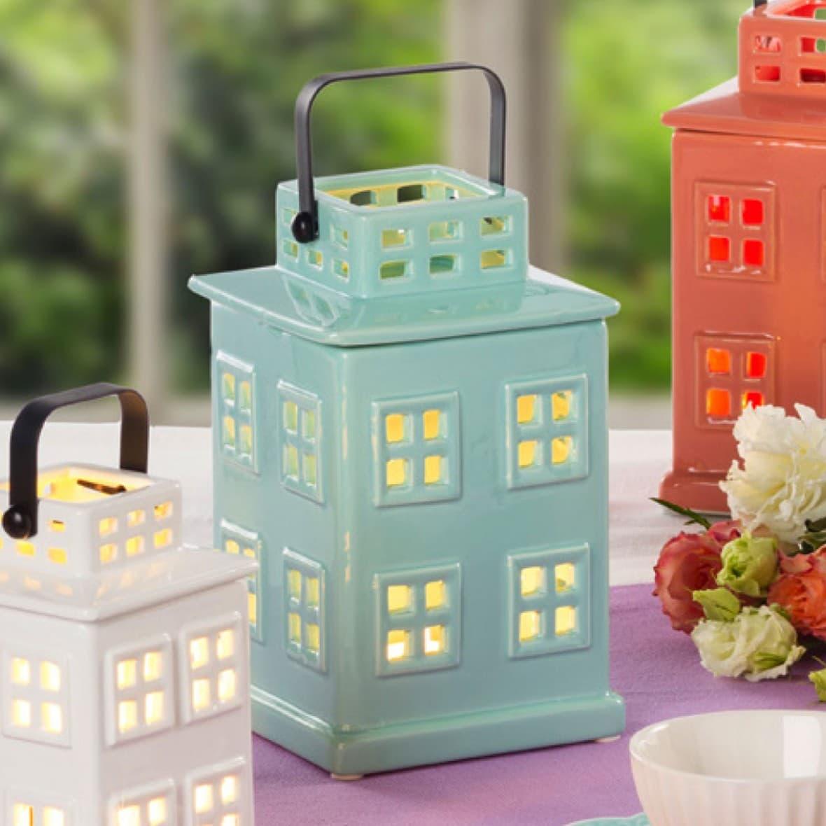 Декоративный фонарик Мятный домик 21 см