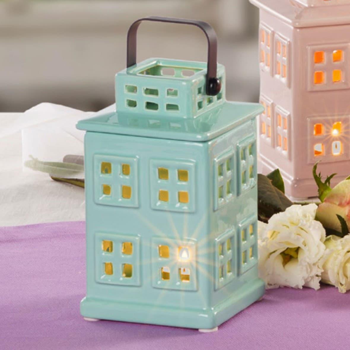 Декоративный фонарик Мятный домик 16 см