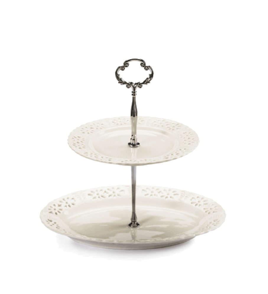 Этажерка для десертов, круглая, с менажницей, 2 уровня