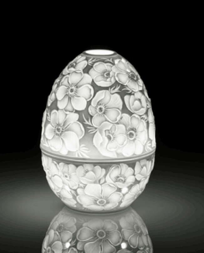 Фарфоровая  шкатулка Яйцо с подстветкой, Фиалка