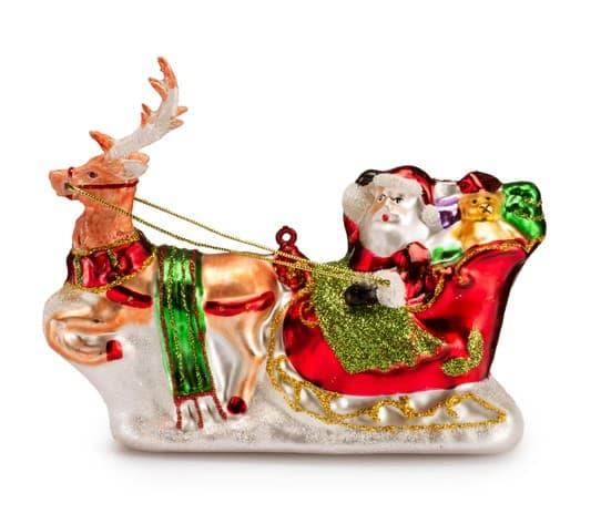 Фигурка Деда Мороза в санях дутое стекло