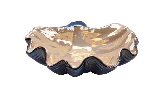 Блюдо декоративное  Sea Shell, синий/крем/золото