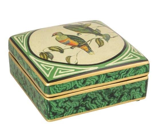 Коробка Early Bird, зеленая/золото,  ручная роспись