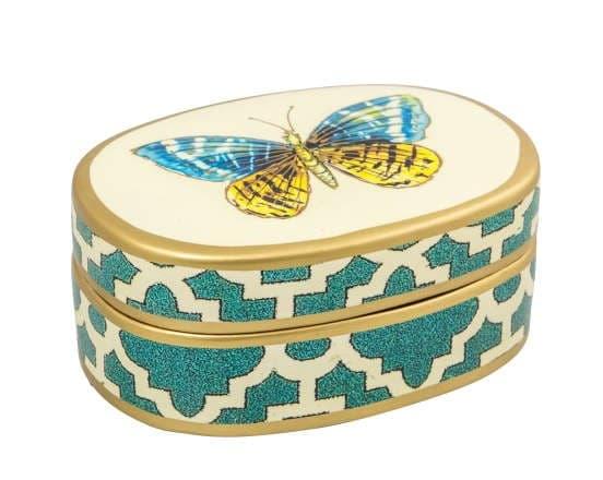Коробка Chack Hill, голубая/золото,  ручная роспись