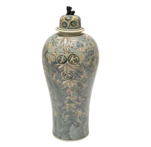 Декоративная ваза Blue Emperior, олива с синим рисунком