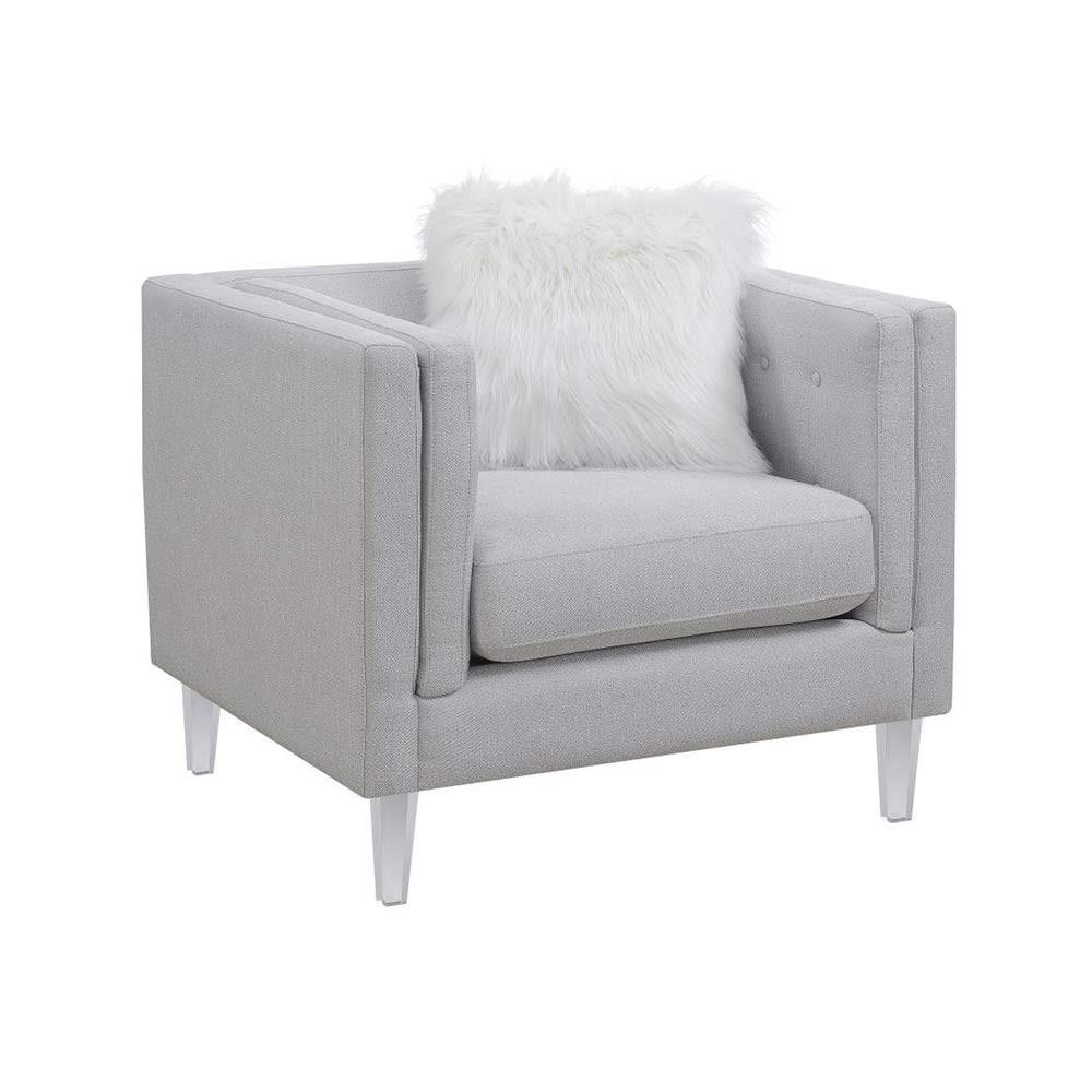 Hemet Кресло Modern небесно-серое отделка пуговицы