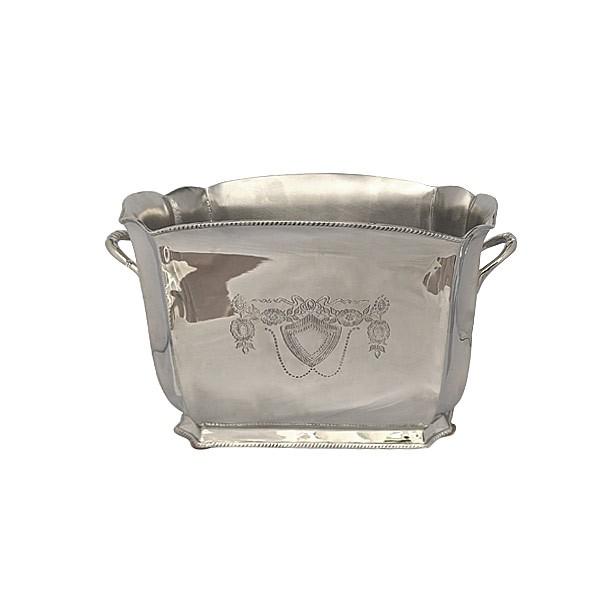 Ведерко для льда декоративное, прямоугольное, с узорами, полированная сталь, чернение
