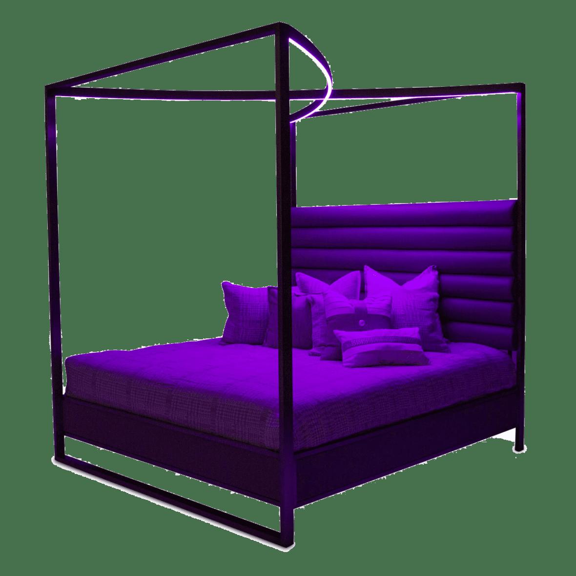 Кровать с декоративным балдахином с подсветкой, размер Cal King