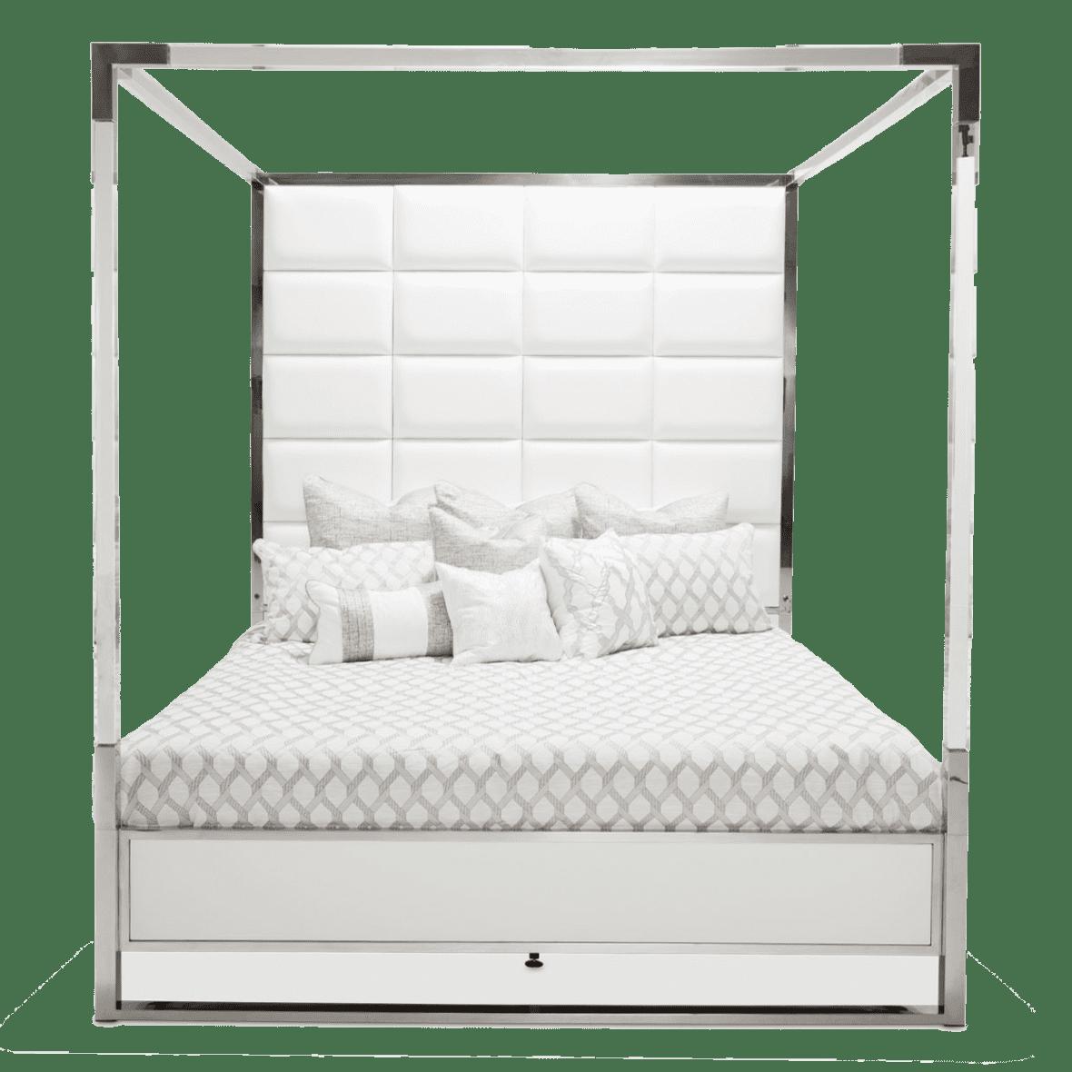 Кровать с кожаными пуфами и прозрачным балдахином, размер Cal King