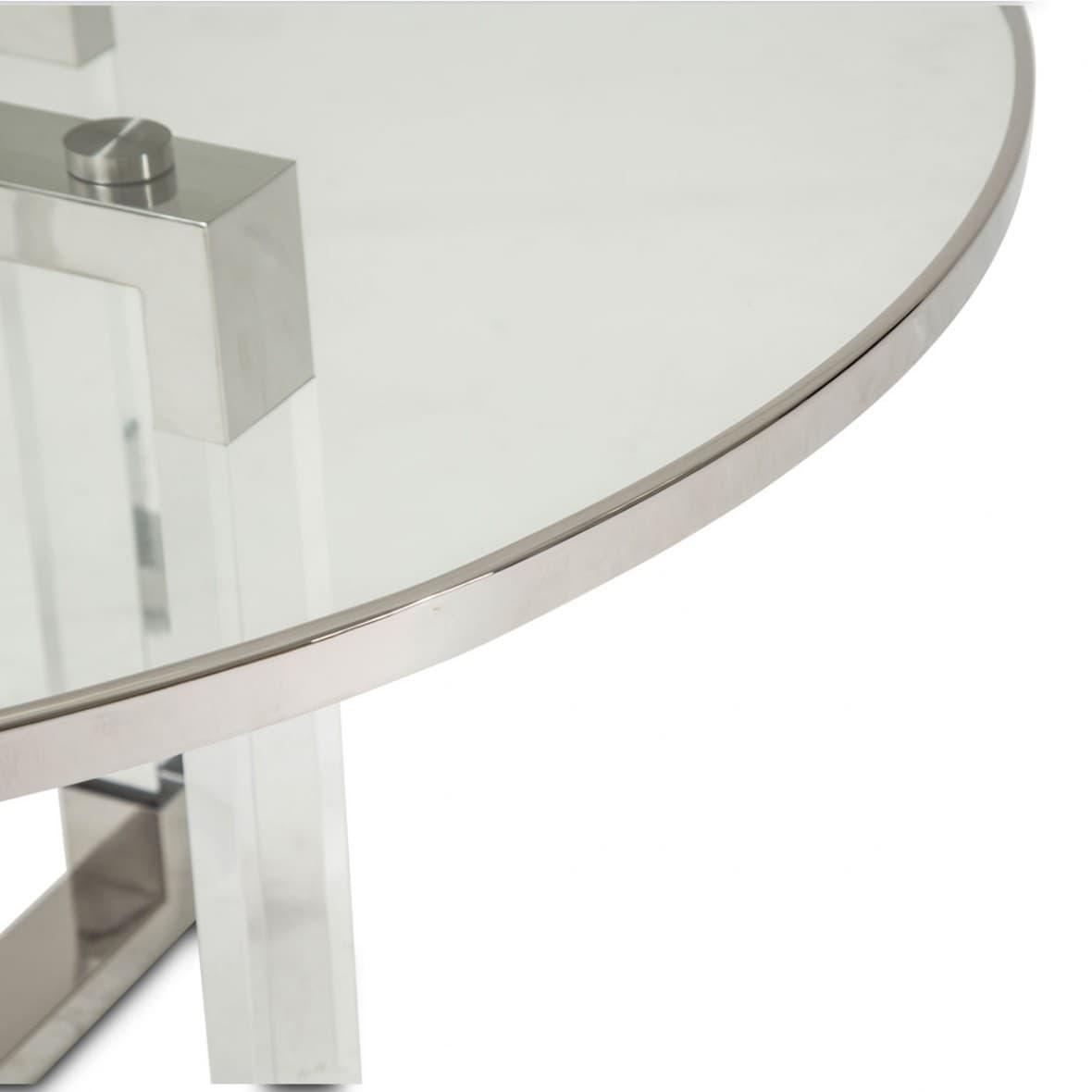 Круглый Обеденный стол стеклянный топ