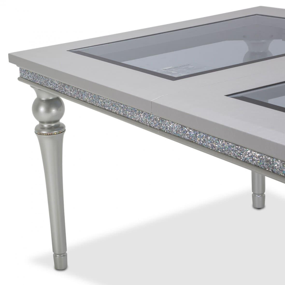 Обеденный стол со стеклянными вставками, длина в разложенном виде 224 см