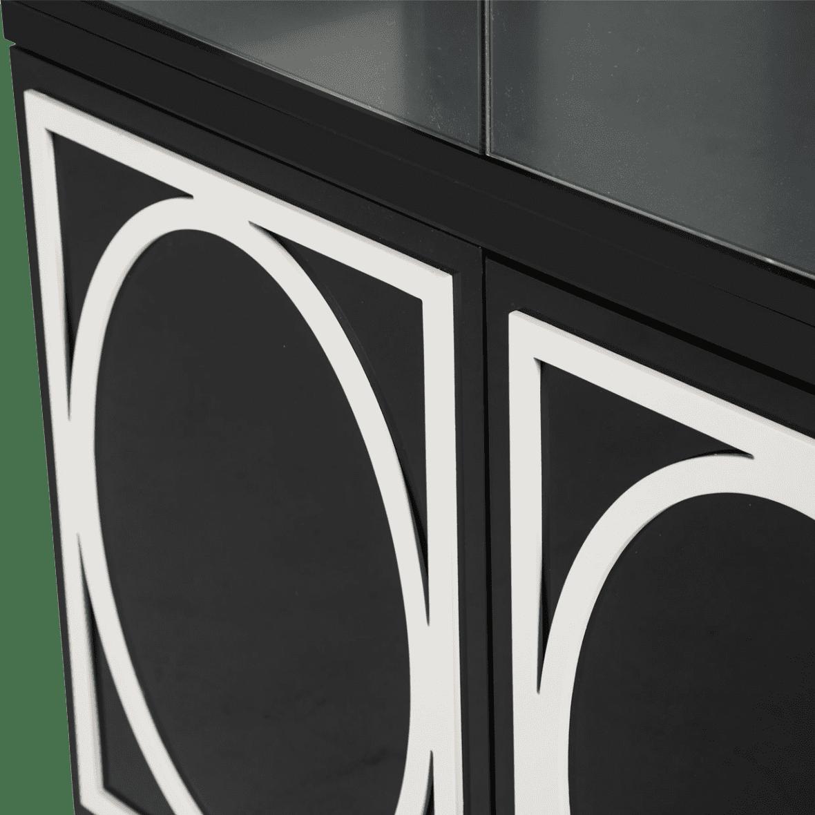 Шкаф узкий для посуды/ Курио Black Ice