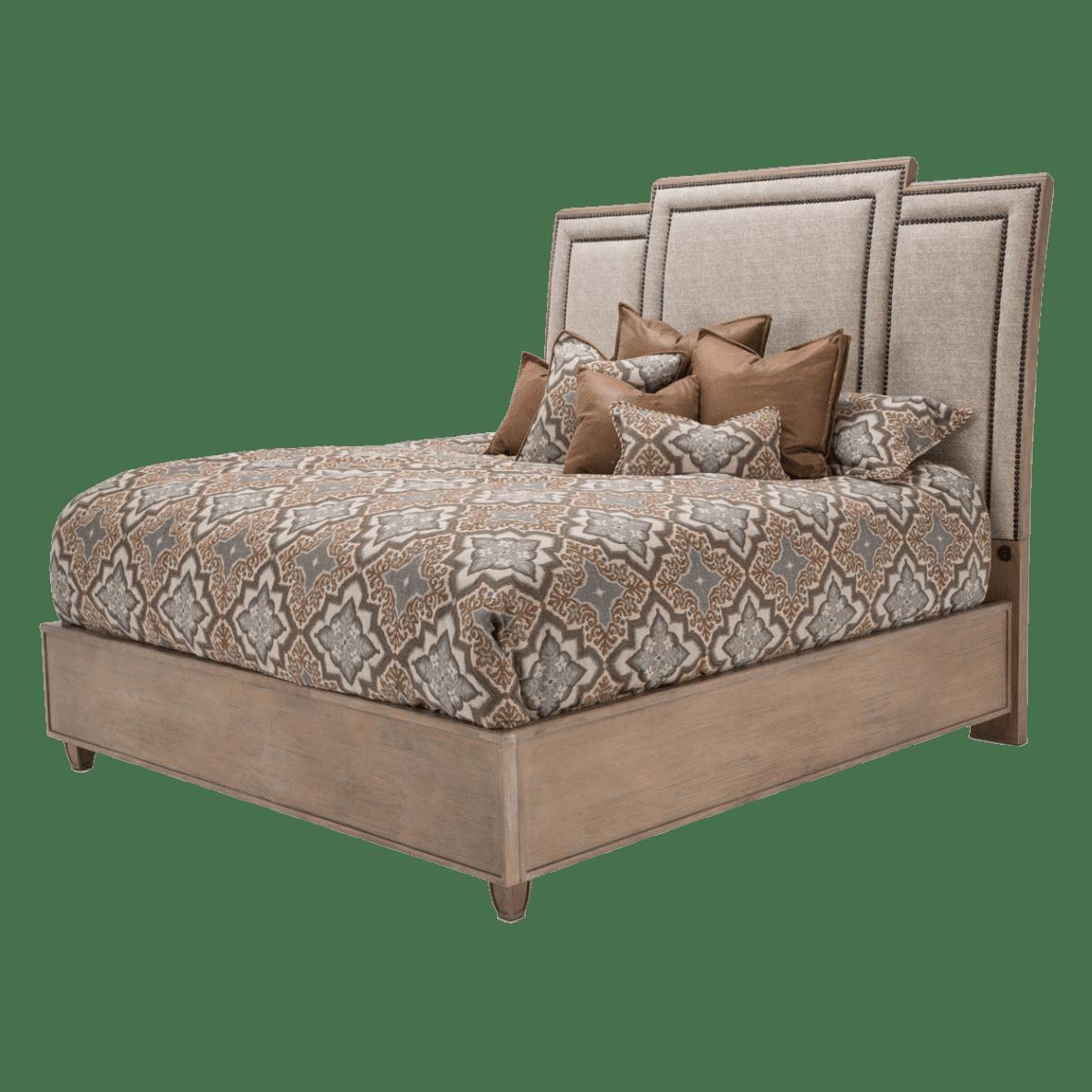 Кровать модульная с высокой драпированной панелью Cal King