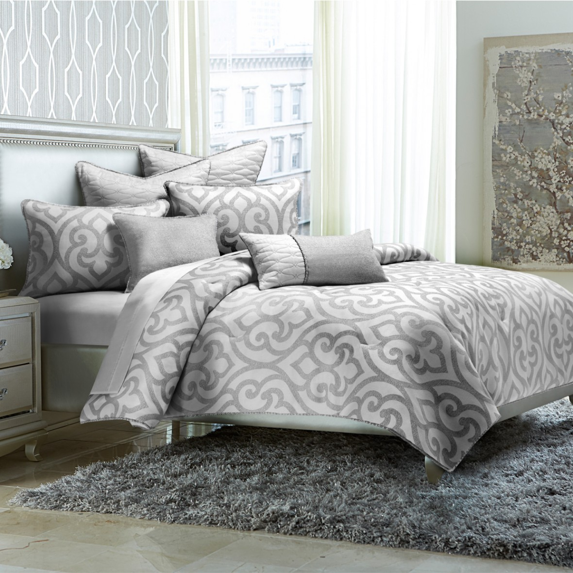 """Canterbury"" Декоративное покрывало и подушки, набор из 8 предметов  (King) цвет Silver"