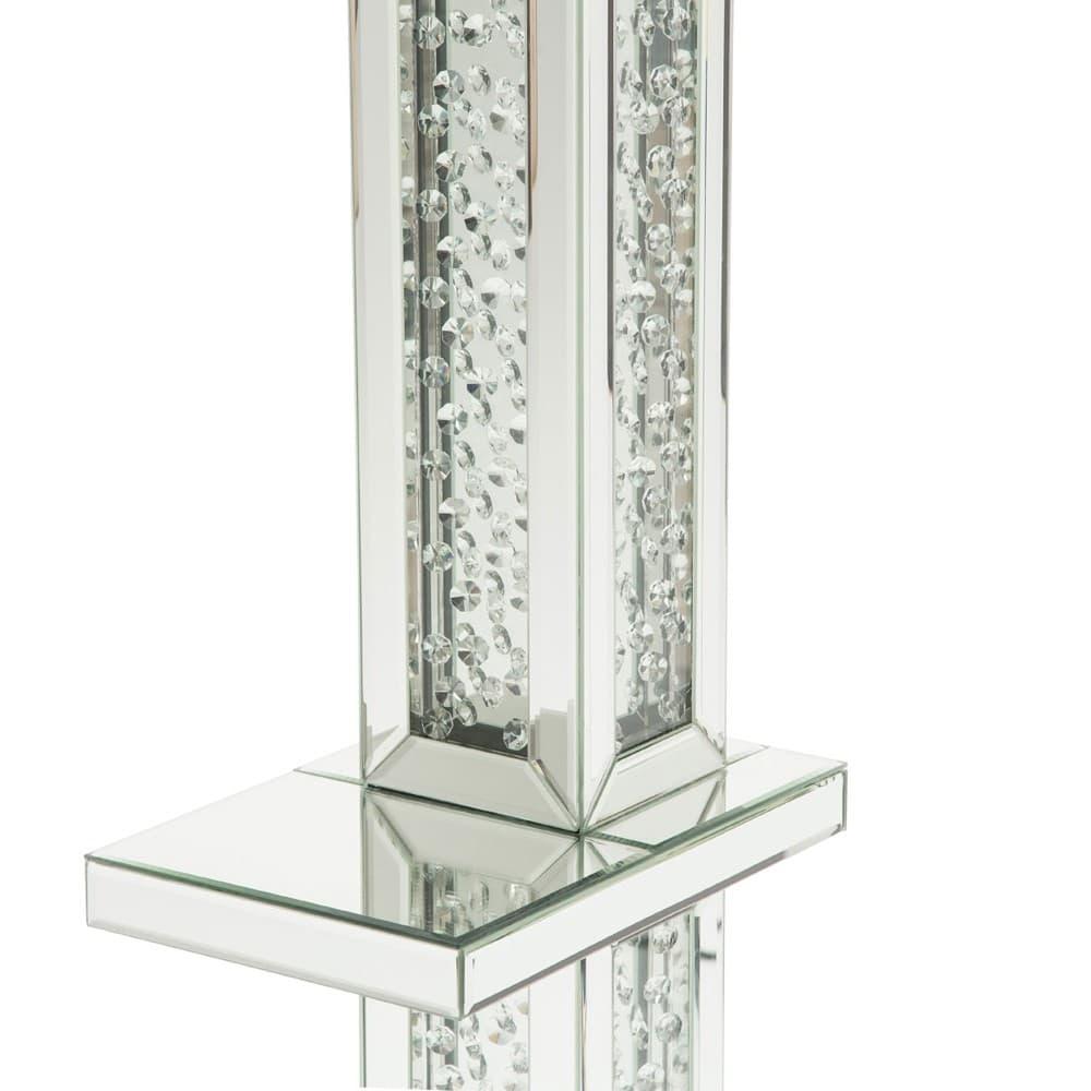 Зеркальный торшер с полочкой, покрытый хрустальными каплями