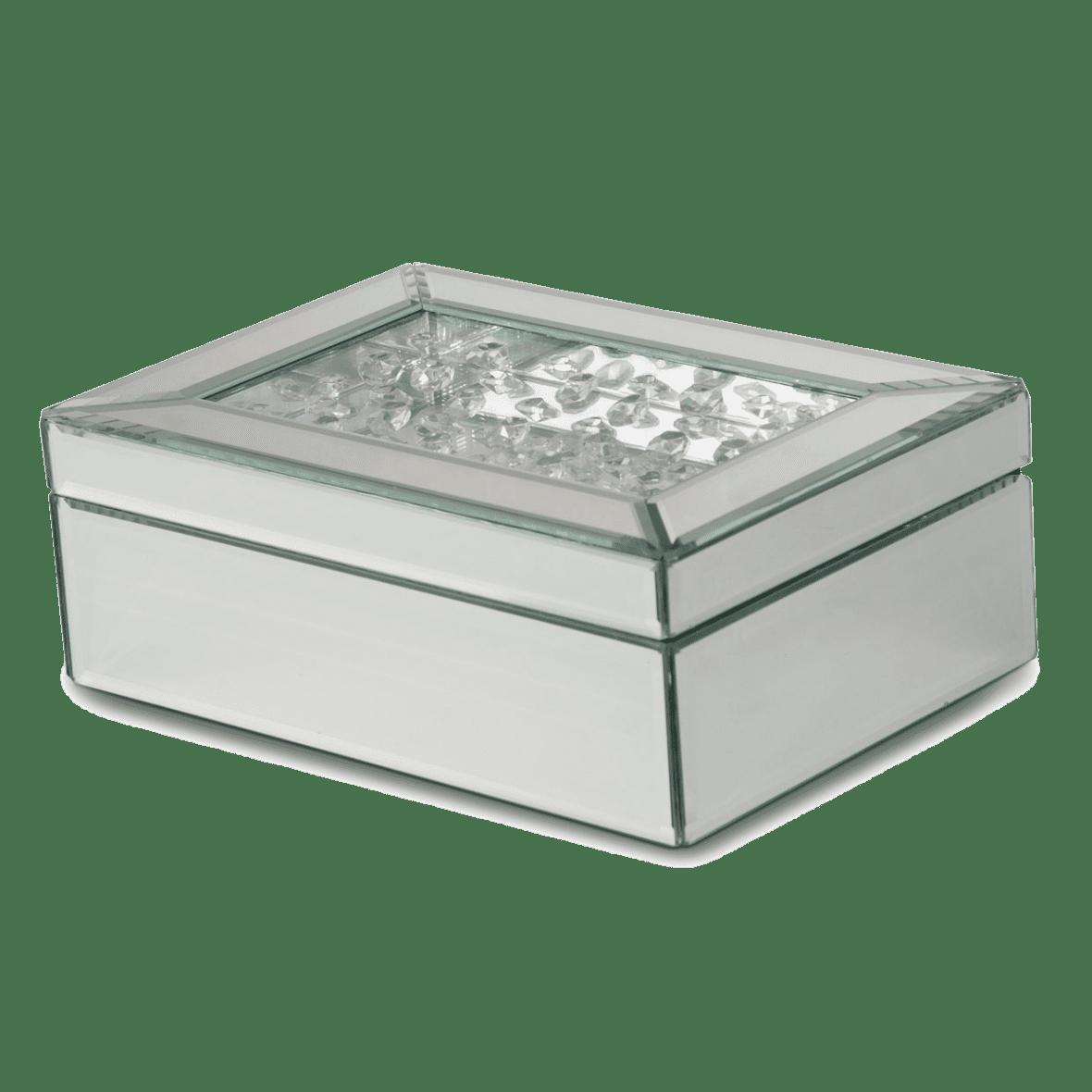 Боробка для украшений: зеркальный корпус, хрустальная крышка