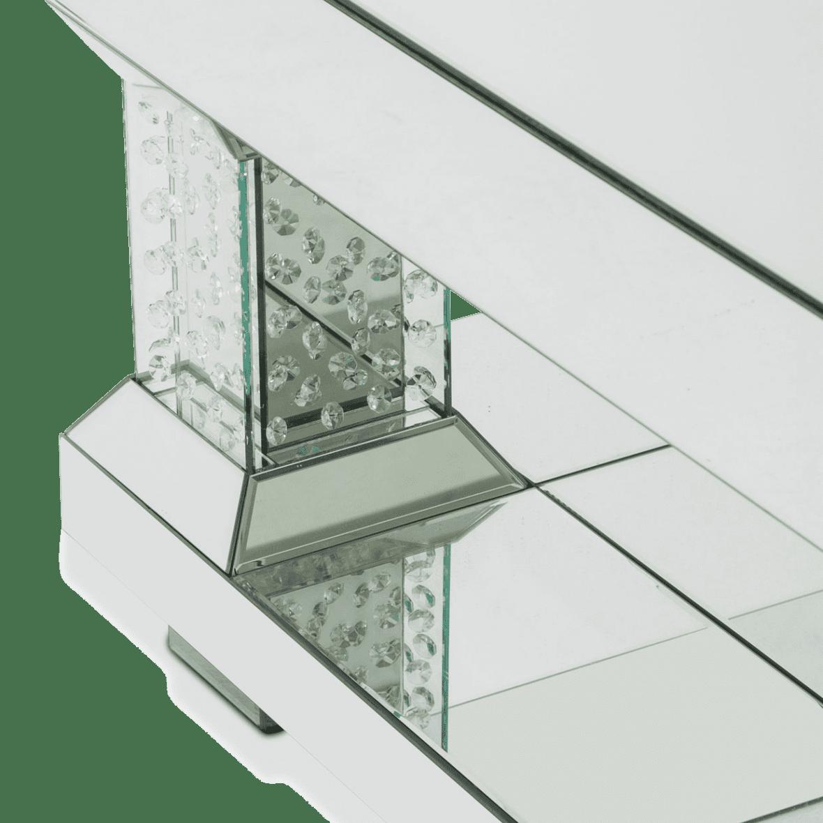 Зеркальный  журнальный стол с хрустальными акцентами