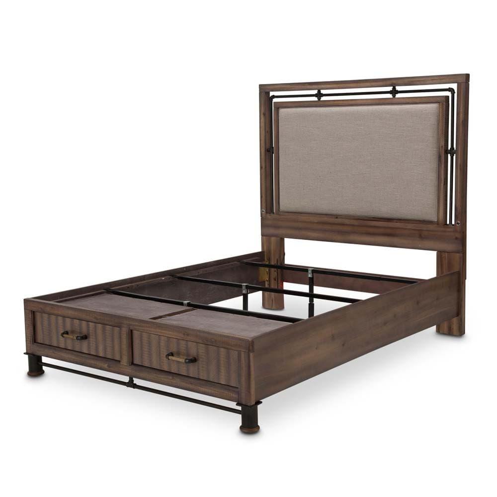 Кровать с мягкой панелью и выдвижными ящиками, Размер Cal King