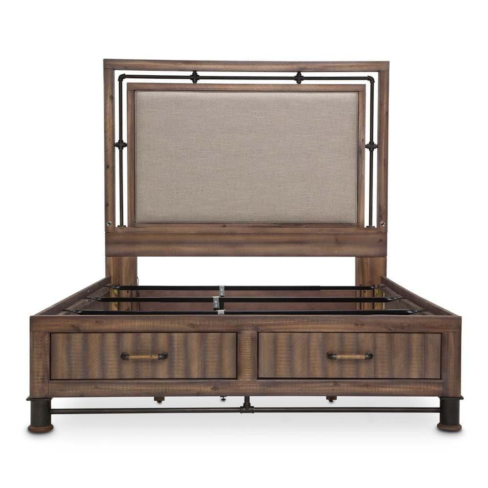 Кровать с мягкой панелью и выдвижными ящиками, Размер East King
