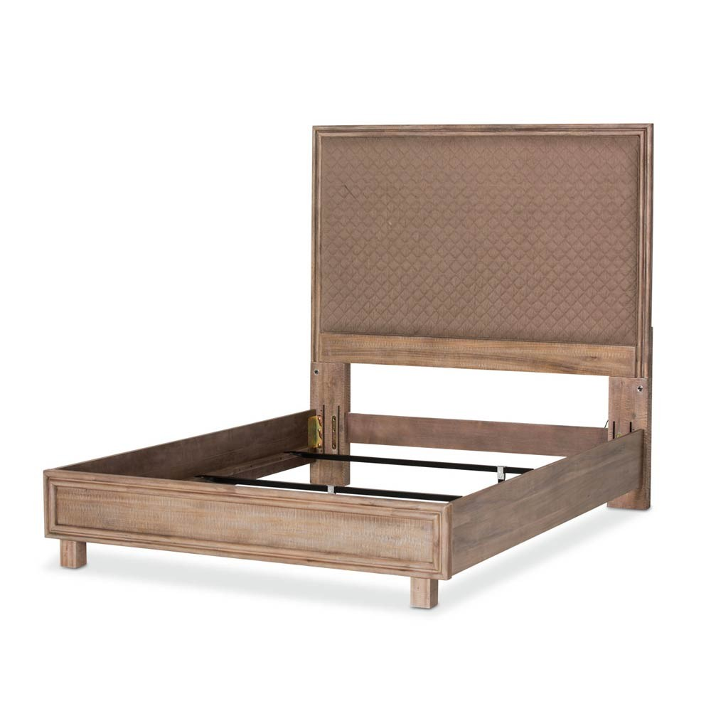 Кровать со строченой панелью, (3 предм) Размер Cal King беж.