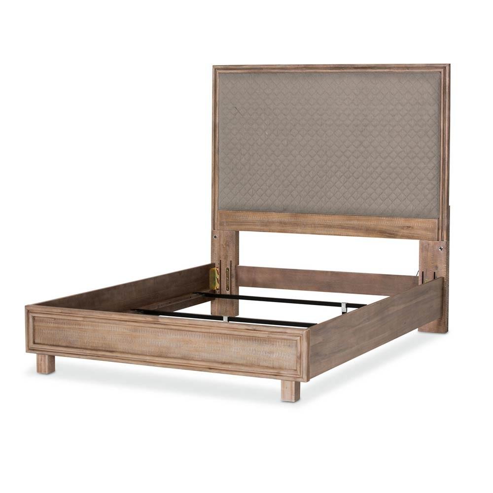 Кровать со строченой панелью, (3 предм) Размер East King серая