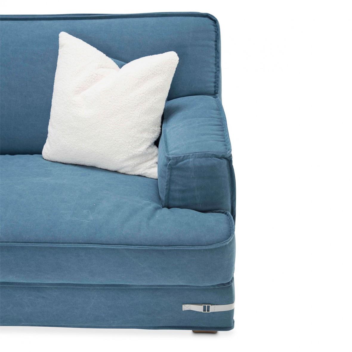 Софа 3-местная, цвет Деним, 2 декоративных подушки