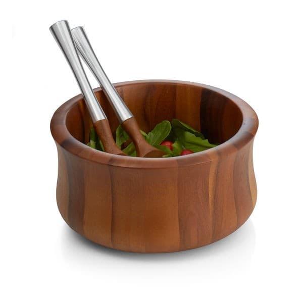 Деревянная чаша Nara для салата, с кулинарными ложками