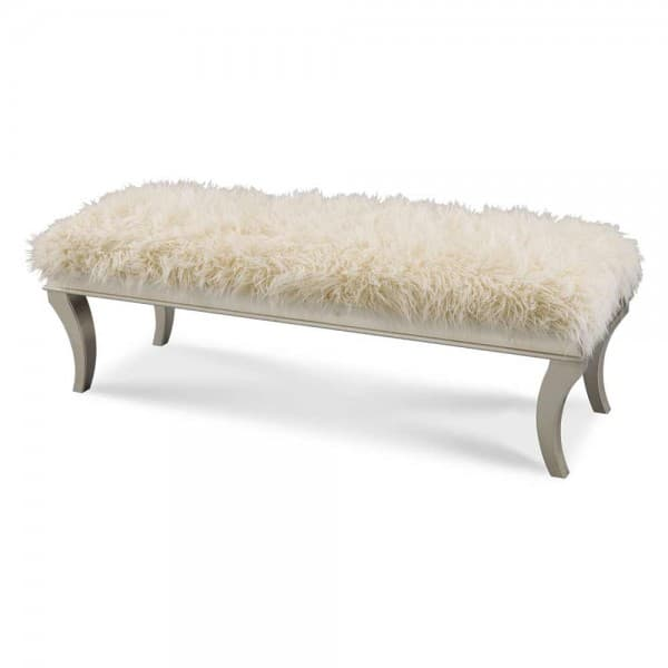 Прикроватная скамейка, обитая мехом