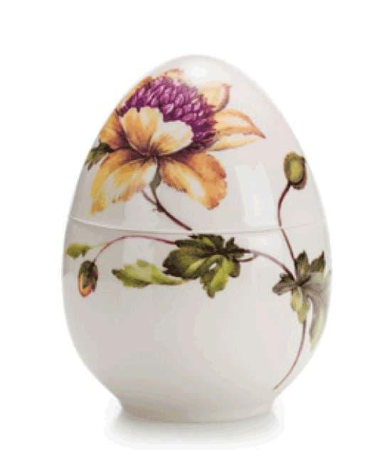Фарфоровая музыкальная шкатулка  Яйцо, 12 см,  ручная роспись