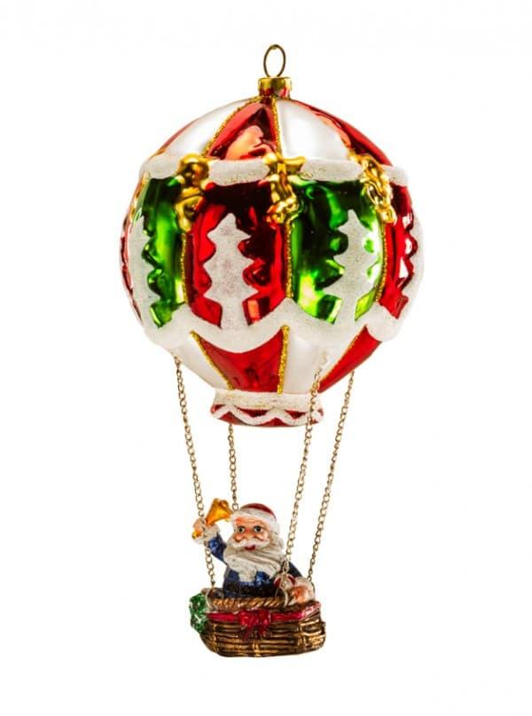 Фигурка Деда Мороза на воздушном шаре дутое стекло