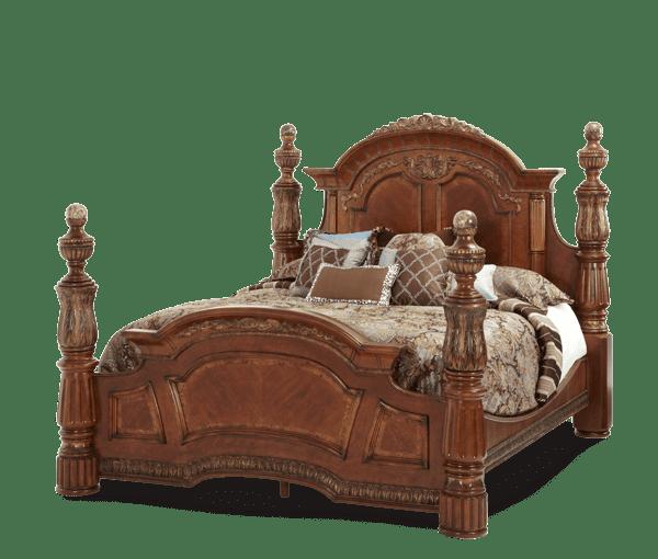 Кровать с декоративными колоннами  Размер Eastern King