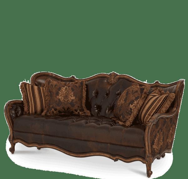 Софа с комбинированными подушками кожа/велюр