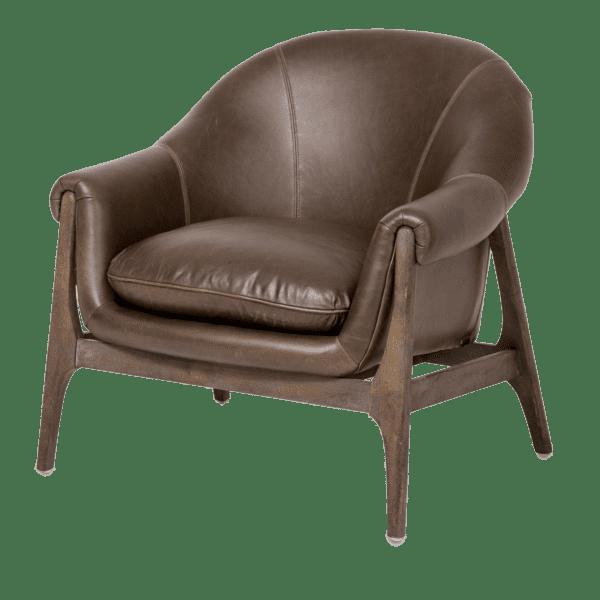 Концептуальное акцентное кресло, кожа