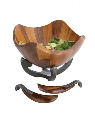 Деревянная чаша для салата Anvil на металлической базе, с кулинарными ложками