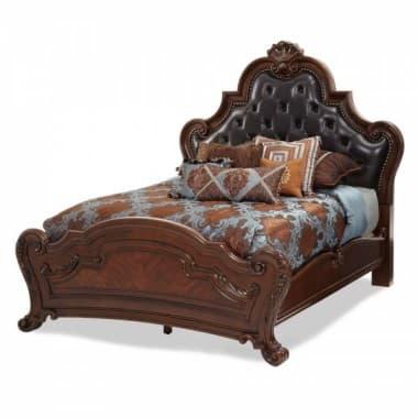 Кровать с кожаным изголовьем, размер Cal King