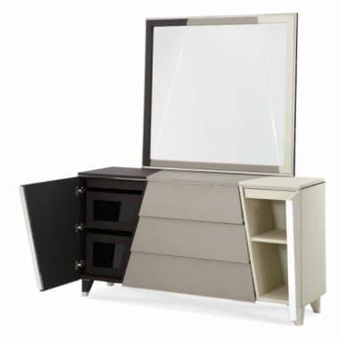 Комод с зеркалом жемчужный с черной и серой обивкой