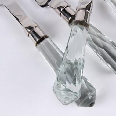 Набор из 4 ножей для сыра, ручка хрустальная ограненная