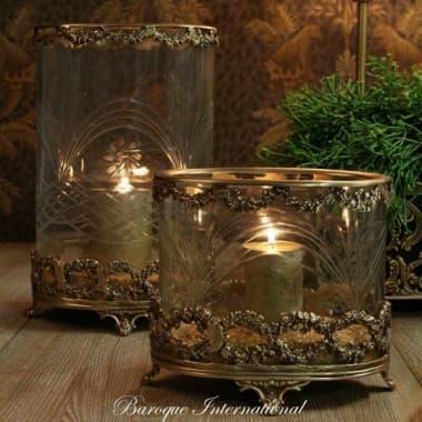 Подсвечник/ваза Hurricane, резаное стекло, на деревянной резной базе