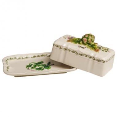 Масленка с крышкой Ботаника, ручная роспись