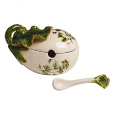 Горшочек для зелени Белый баклажан, ручная роспись