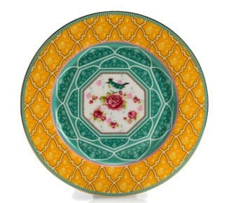 Тарелка десертная, желтый/мята