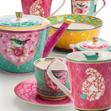Чайний сервиз на 6 персон Come nelle favole малина 19 предметов, 11 наименований