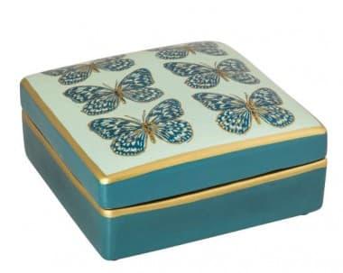 Коробка Holly Blue, голубая/золото,  ручная роспись