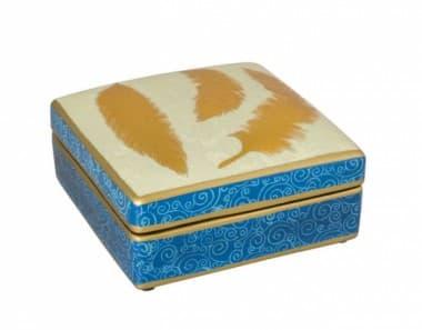 Коробка Gold Leaf,  голубая/золото,  ручная роспись