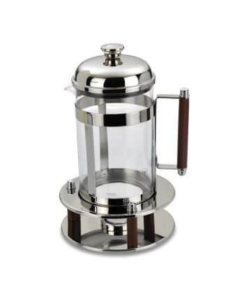 Чайник/кофейник с прессом с кожаной ручкой с подогревом