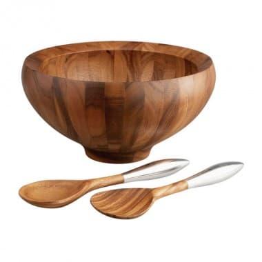 Деревянная чаша Yaro для салата с кулинарными ложками