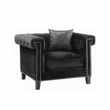 Reventlow Кресло для приемной черный вельвет