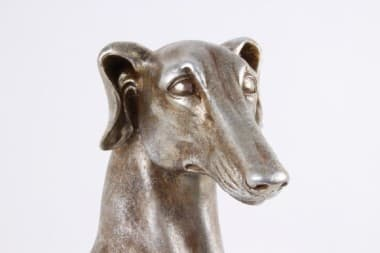 Скульптура кабинетная Сидящая Гончая под серебро